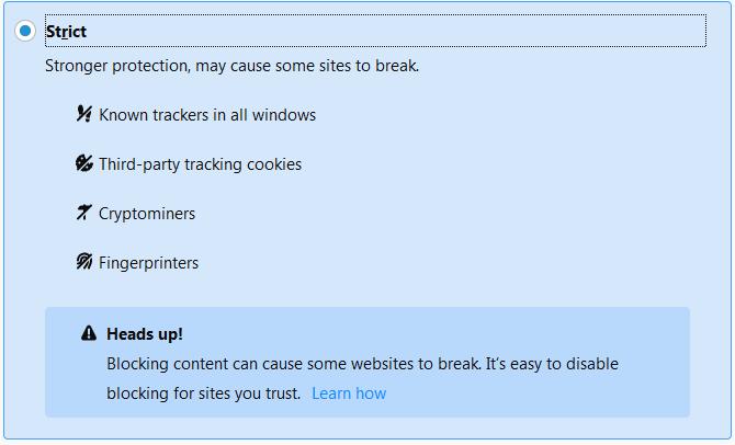 Firefox 68 settings strict