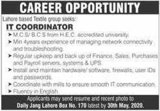 Textile Group Jobs in Lahore 2020