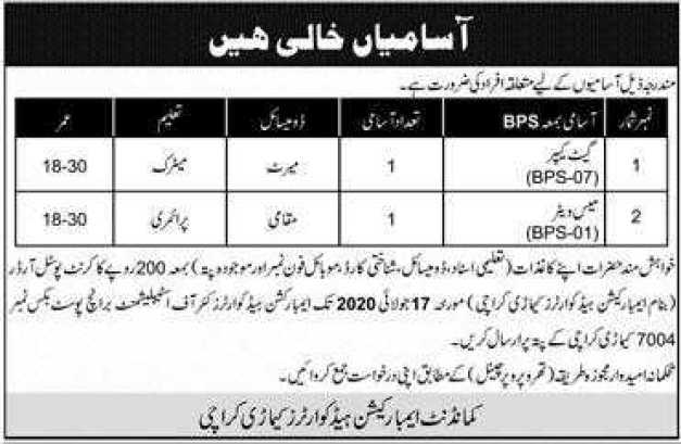 Commandant Embarkation Headquarter Kemari Karachi Jobs 2020