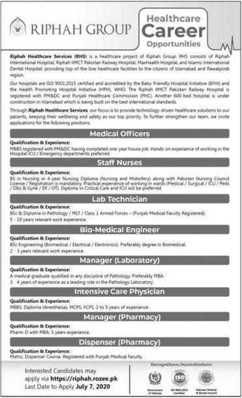 Riphah Healthcare Services Jobs 2020