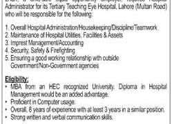 LRBT Tertiary Teaching Eye Hospital Lahore Jobs 2020