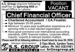 SS Group Lahore Jobs 2020