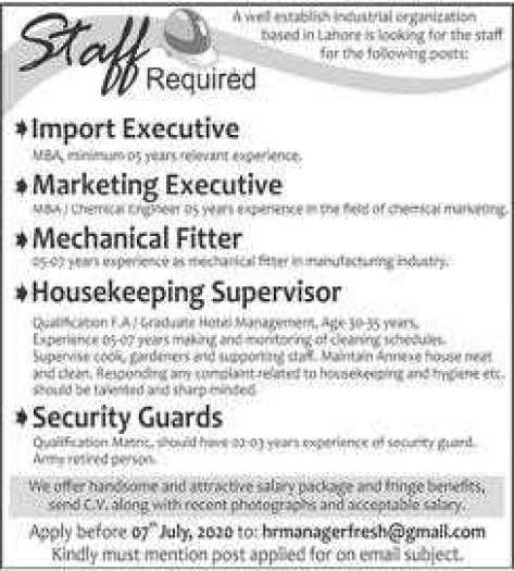 Staff Required in Lahore 2020