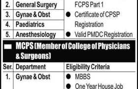 Punjab Rangers Teaching Hospital Lahore Jobs 2020