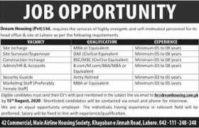 Dream Housing Pvt Ltd Lahore Jobs 2020