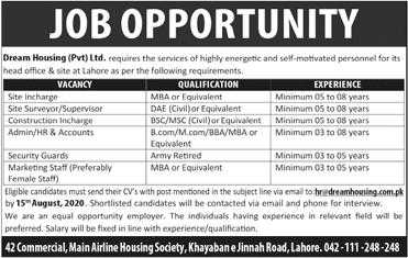 Dream Housing Pvt Ltd Lahore Jobs 2020