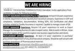 Focus & Rulz Pharmaceuticals Islamabad Jobs 2020