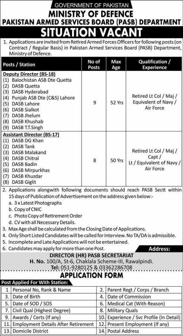 Ministry of Defence Pakistan Armed Services Board (PASB) Department Jobs 2020