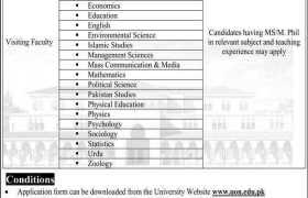 The University of Narowal Jobs 2020