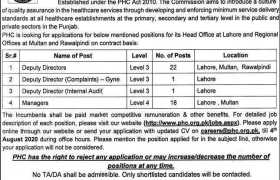 The Punjab Healthcare Commission (PHC) Jobs 2020