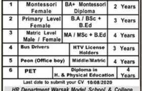 Warsak Model School and College Peshawar Jobs 2020