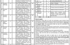 Cadet College Karampur Jobs 2020