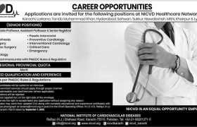 National Institute of Cardiovascular Diseases Healthcare Network Sindh Jobs 2020