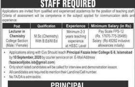 Fazaia Inter College E-9 Islamabad Jobs 2020