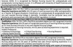 Shalamar Nursing College Jobs 2020