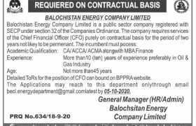 Balochistan Energy Company Limited Jobs 2020