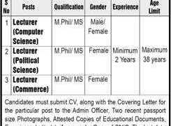 Fazaia College of Education Lahore Jobs 2020