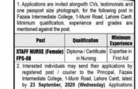 Fazaia Intermediate College Lahore Cantt Jobs 2020