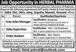 Herbal Pharma Industry Jobs 2020