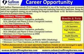 Saffron Pharmaceuticals Faisalabad Jobs 2020