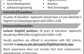FAST-NUCES Chiniot-Faisalabad Campus Jobs 2020