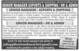 Garment Export Unit Jobs 2020