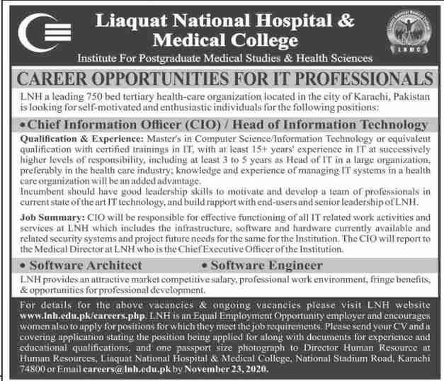 Liaquat National Hospital Jobs 2020