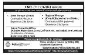 Encure Pharma Sindh Jobs 2020