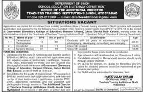 Teachers Training Institutions Sindh Jobs 2021