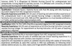 Shalamar Nursing College Jobs 2021