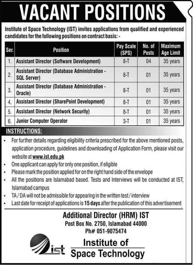 Institute of Space Technology Jobs 2021
