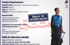 Airblue Peshawar Walk-in-Interview 2021
