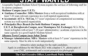 Laurelbank Public School Lahore Jobs 2021