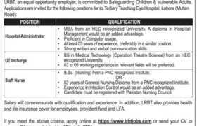 LRBT Teaching Eye Hospital Lahore Jobs 2021