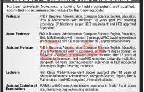 Jobs in Northern University Nowshehra 2021