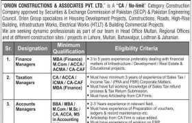 Orion Constructions & Associates Pvt Ltd Jobs 2021
