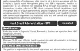 Jobs in Financial Institution Islamabad 2021