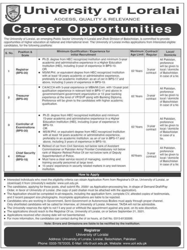 Jobs in University of Loralai 2021