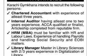 Jobs in Karachi Gymkhana 2021