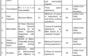 Jobs in Coal Mining Company Sindh 2021