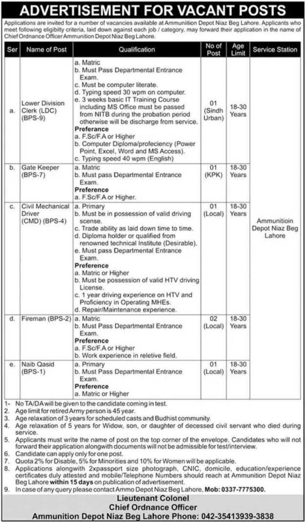 Ammunition Depot Niaz Beg Lahore Jobs 2021