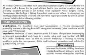 Jobs in Ali Medical Centre Islamabad 2021