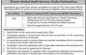 Multiple Jobs in KPK Health Services 2021
