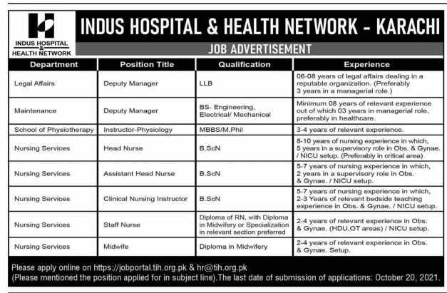 Jobs in Indus Hospital Karachi 2021