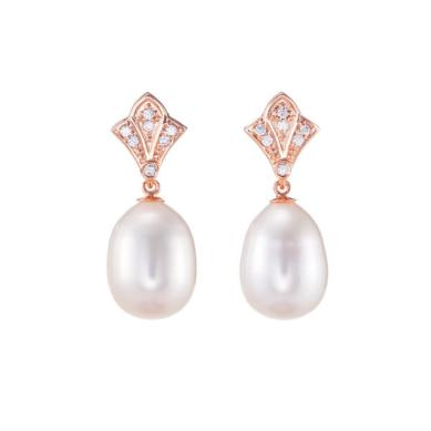 Boticca Rose Gold Art Deco Pearl Earrings http://bit.ly/1d54Cs9