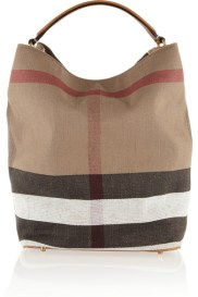 BURBERRY Checked canvas hobo bag http://goo.gl/0xvYwj