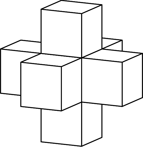 [asy] import three; defaultpen(linewidth(0.8)); real r=0.5; currentprojection=orthographic(1,1/2,1/4); draw(unitcube, white, thick(), nolight); draw(shift(1,0,0)*unitcube, white, thick(), nolight); draw(shift(1,-1,0)*unitcube, white, thick(), nolight); draw(shift(1,0,-1)*unitcube, white, thick(), nolight); draw(shift(2,0,0)*unitcube, white, thick(), nolight); draw(shift(1,1,0)*unitcube, white, thick(), nolight); draw(shift(1,0,1)*unitcube, white, thick(), nolight);[/asy]