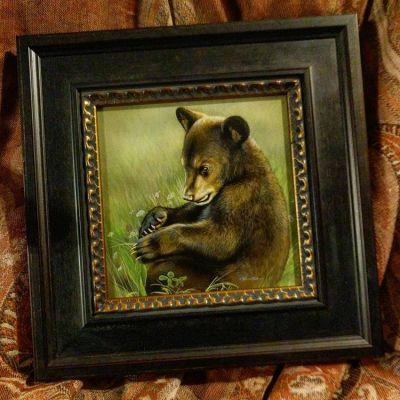 Field Work - Black Bear Cub - watercolor on board with sterling silver