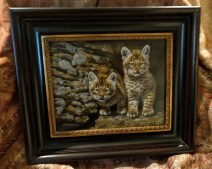 Curious Pair - Bobcat Kittens, 8x10in, watercolor on board with sterling silver