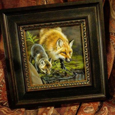 Apprentice - Red Fox and Cub -  watercolor on board with sterling silver